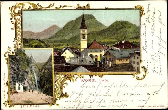 Passepartout Ak Wörgl in Tirol, Staubfall, Kirchturm