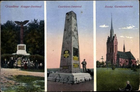 Ak Grudziądz Graudenz Westpreußen, Kriegerdenkmal, Courbiere Denkmal, Garnisonkirche