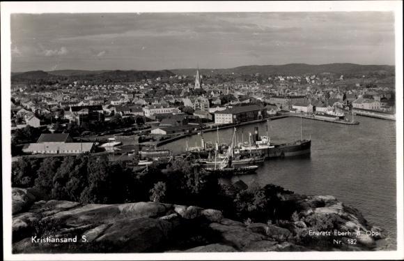 Ak Kristiansand Norwegen, Panorama, Hafen
