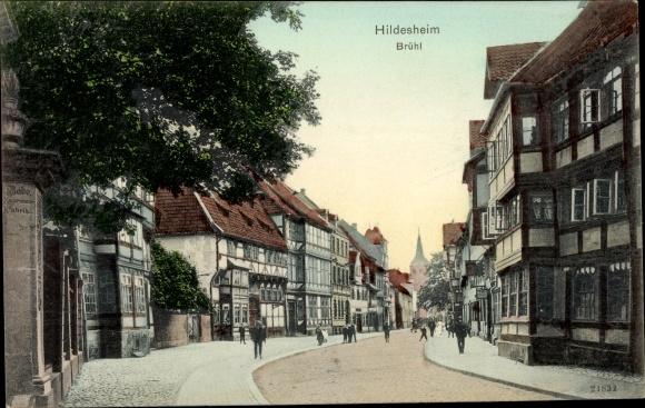 Ak Hildesheim in Niedersachsen, Brühl, Fachwerkhäuser