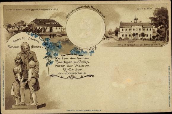 Präge Litho Weifa Steinigtwolmsdorf Lausitz, Johann Heinrich Pestalozzi, Portrait, Statue, Schule