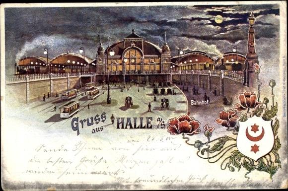 Mondschein Wappen Litho Halle an der Saale, Bahnhof, Straßenbahn