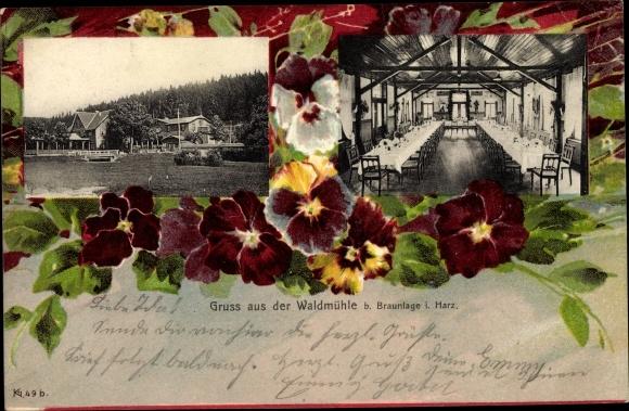 Ak Braunlage im Oberharz, Gasthaus Waldmühle, Stiefmütterchen