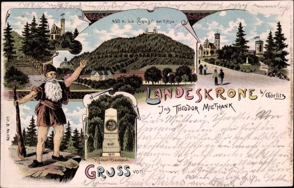 Litho Landeskrone Görlitz in der Lausitz, Gasthaus Landeskrone, Thoedor Körner Denkmal, Riese