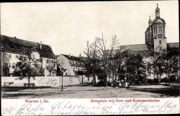 Reilef Ak Wurzen in Sachsen, Domplatz mit Dom und Kommandantur