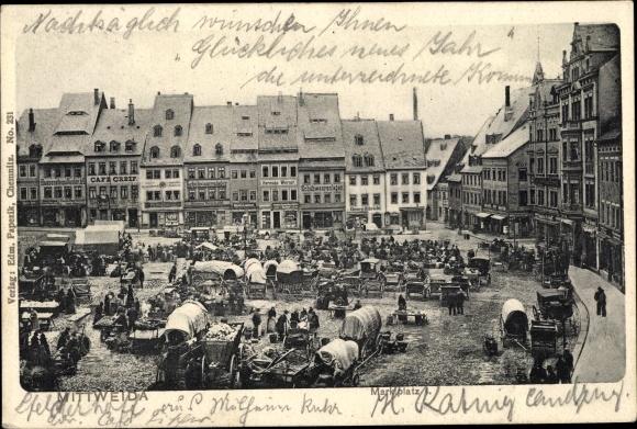 Ak Mittweida in Sachsen, Marktplatz, G. Georg Ulbricht
