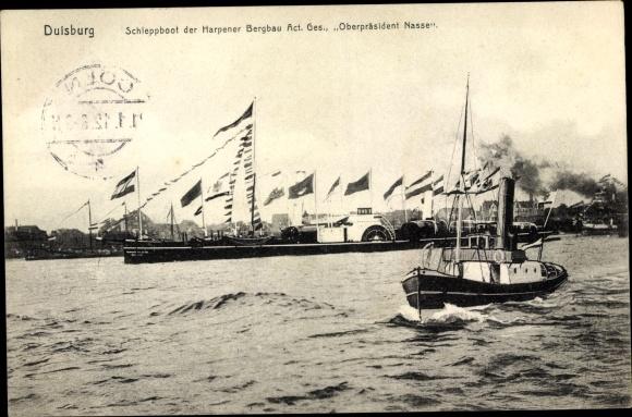Ak Duisburg im Ruhrgebiet, Oberpräsident Nasse, Schleppboot der Harpener Bergbau AG