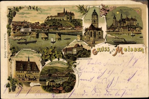Litho Meißen in Sachsen, Panorama vom Ort, Kirche, Albrechtsburg, Rathaus, Schloss Siebeneichen