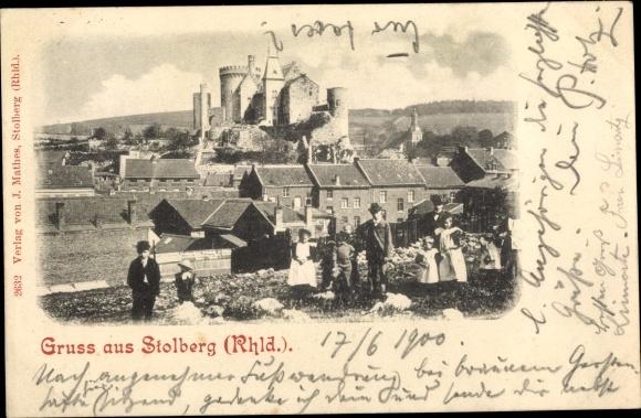 Ak Stolberg im Rheinland, Panorama vom Ort und Burg