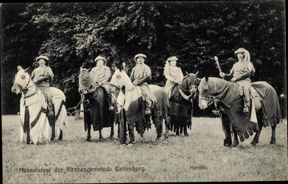 Ak Katlenburg Lindau in Niedersachsen, Heimatfest der Kirchengemeinde, Herolde zu Pferd