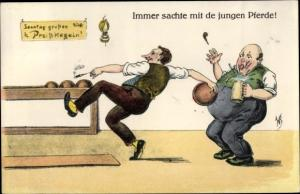 Künstler AK Scheuermann, Willi, Immer sachte, Männer beim Kegeln