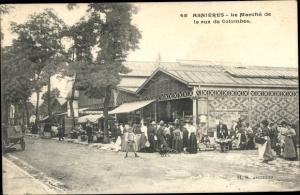Ak Asnières sur Seine Hauts de Seine, Le Marché de la rue de Colombes