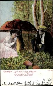 Ak Glückspilz, Liebespaar unter einem Pilz