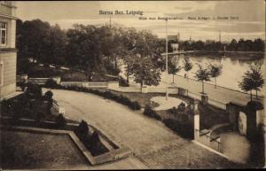 Ak Borna in Sachsen, Blick vom Realgymnasium, Neue Anlagen und Breiter Teich
