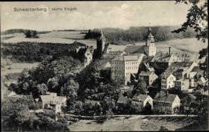 Ak Schwarzenberg im Erzgebirge Sachsen, Panorama vom Ort