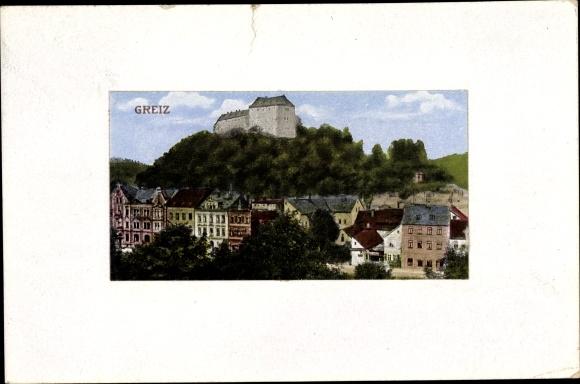 Ak Greiz in Thüringen, Panorama vom Ort und Schloss