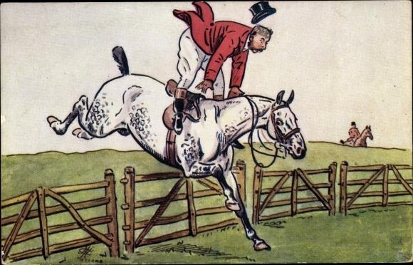 Künstler Ak Springreiten, Sprung über einen Zaun, Tuck 566