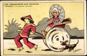 Künstler Ak Les Transport aux Colonies, Tonkin Vietnam, Le pousse pousse