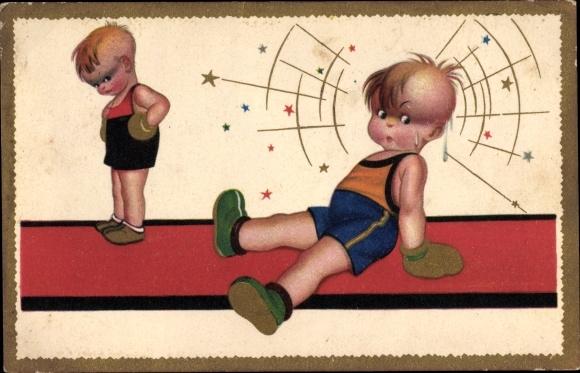 Künstler Ak Kinder beim Boxkampf