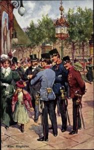 Künstler Ak Feiertag, Karl, Wien, Ringkorso, Kuk Soldaten