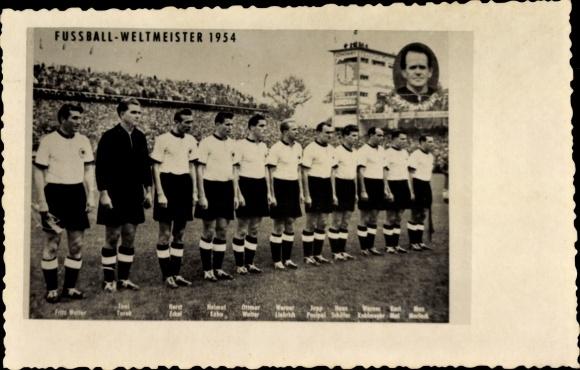 Ak Fußball Weltmeisterschaft 1954, Deutsche Mannschaft, Fritz Walter, Helmut Rahn, Sepp Herberger