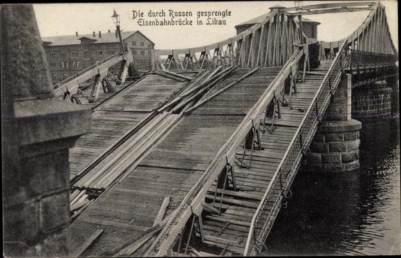 Ak Liepaja Libau Lettland, Die durch Russen gesprengte Eisenbahnbrücke