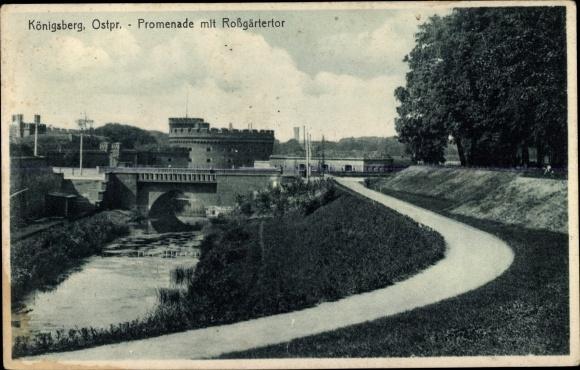 Ak Kaliningrad Königsberg Ostpreußen, Promenade mit Roßgärtertor