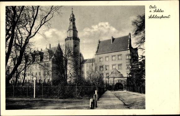 Ak Oleśnica Oels Schlesien, Schlosspont, Straßenpartie, Schloss