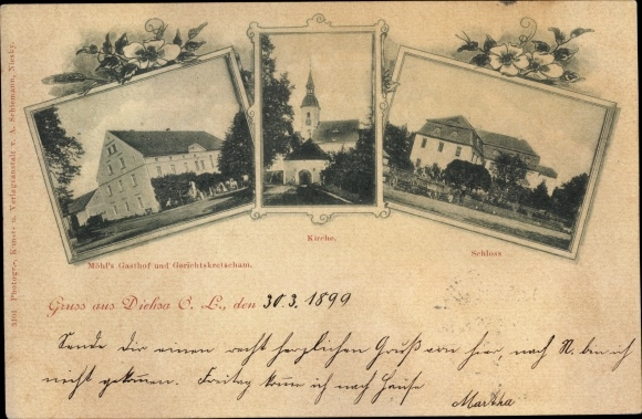 Ak Diehsa Waldhufen Sachsen, Kirche, Schloss, Möhl's Gasthof, Gerichtskretscham