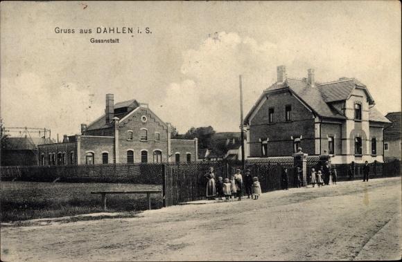 Ak Dahlen in Sachsen, Gasanstalt