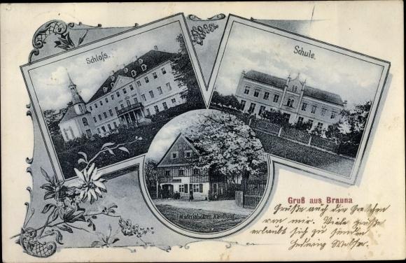 Ak Brauna Kamenz Sachsen, Schloss, Schule