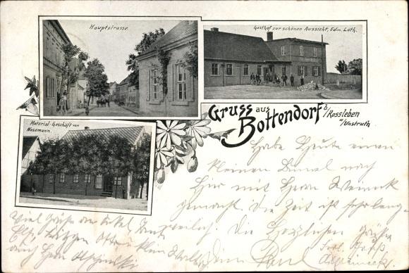 Ak Bottendorf Roßleben im Kyffhäuserkreis, Hauptstraße,Gasthof zur schönen Aussicht,Materialgeschäft