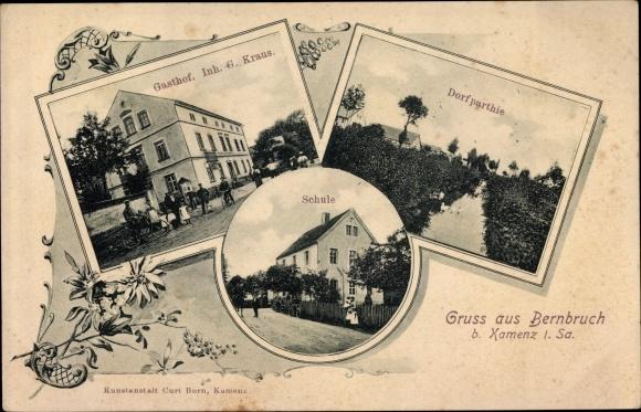 Ak Bernbruch Grimma in Sachsen, Gasthof G. Kraus, Dorfpartie, Schule
