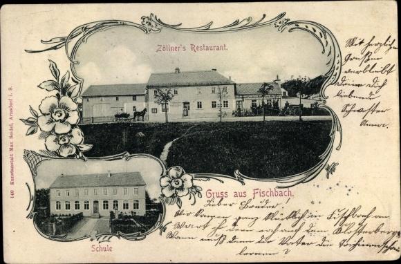 Ak Fischbach Arnsdorf im Kreis Bautzen, Zöllner's Restaurant, Schule