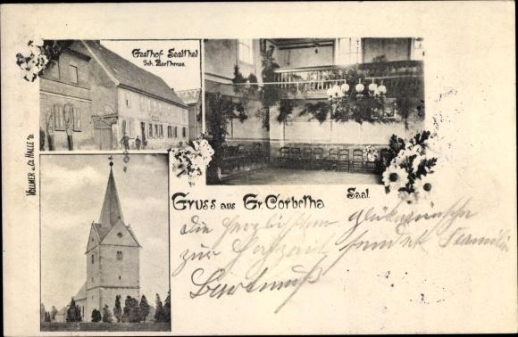 Ak Großkorbetha Sachsen Anhalt, Gasthof Saalthal, Kirche