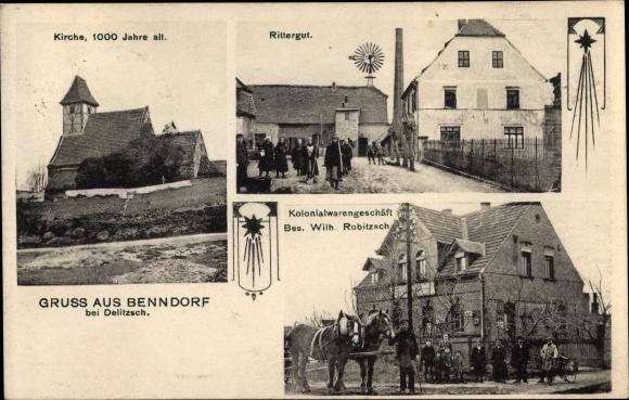 Ak Benndorf Sachsen Anhalt, Kirche, Rittergut, Kolonialwarengeschäft Wilh. Robitzsch
