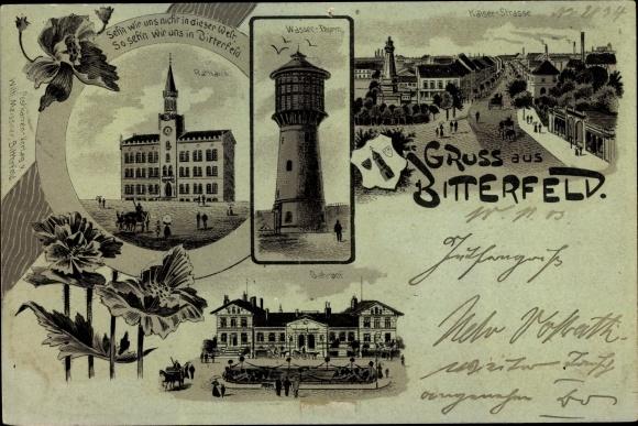 Mondschein Litho Bitterfeld in Sachsen Anhalt, Wasserturm, Gasthof, Rathaus