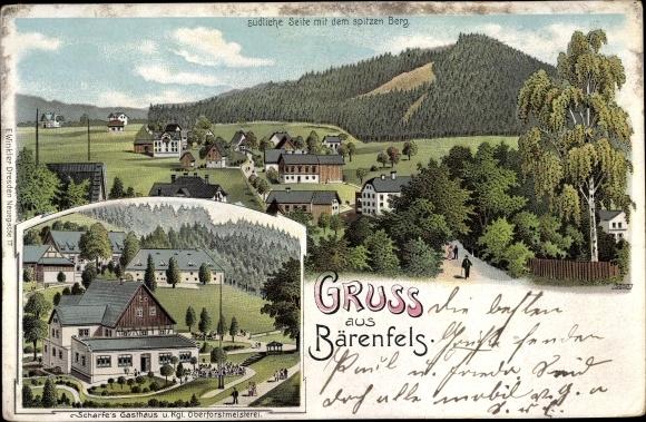 Litho Bärenfels Altenberg im Erzgebirge, Südliche Seite mit dem spitzen Berg, Scharfe's Gasthaus