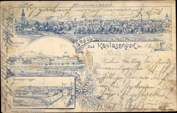 Litho Königsbrück in der Oberlausitz, Barackenlager, Artilleriekaserne, Totalansicht