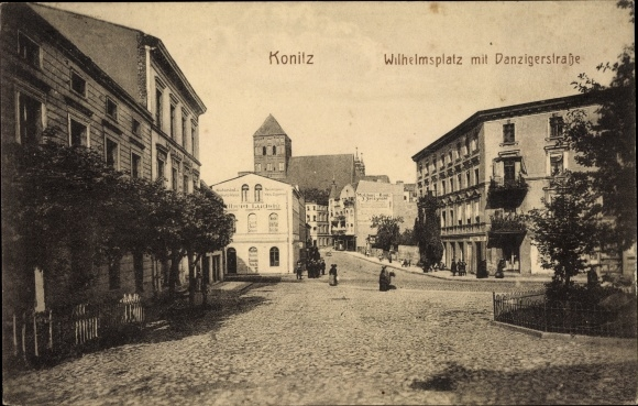 Postcard Chojnice Konitz Pommern, Wilhelmsplatz mit Danziger Straße