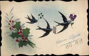 Handgemalt Ak Glückwunsch Neujahr, Schwalben, Stechpalmenblätter