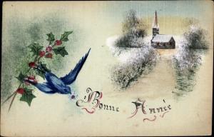 Handgemalt Ak Glückwunsch Neujahr, Schwalbe, Stechpalmenblätter, Winterszene
