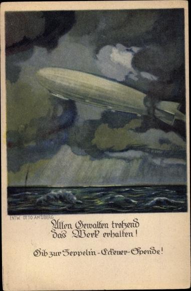 Künstler Ak Amtsbeg, Otto, Zeppelin bei stürmischer See