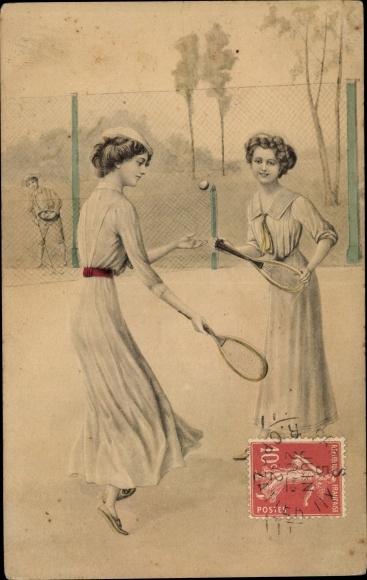 Künstler Ak Frauen spielen Federball