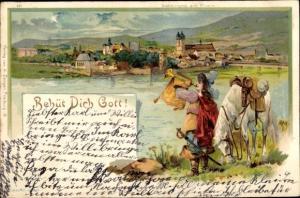 Litho Behüt dich Gott, Trompeter von Säckingen, Säckingen am Rhein