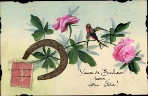 Handgemalt Ak Glückwunsch Geburtstag, Hufeisen, Rose, Schwalbe