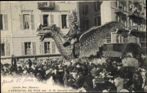 Ak Nice Nizza Alpes Maritimes, Carnaval de Nice, Festwagen