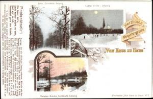 Litho Connewitz Leipzig in Sachsen, Lutherkirche, Pleissenbrücke, Preisrätsel