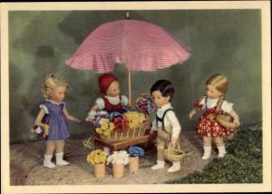 Ak Käthe Kruse Puppen, Verkaufsstand für Blumen