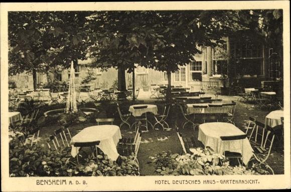 Ak Bensheim an der Bergstraße Hessen, Hotel Deutsches Haus, Gartenansicht, Inh. Joh. Müller